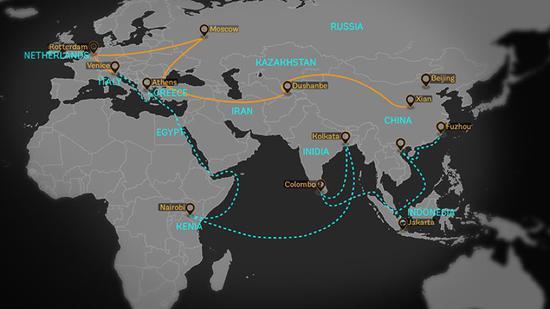 """世界银行官网给出的""""一带一路""""地图"""