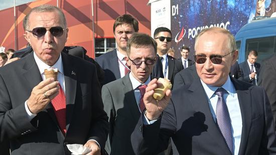 普京與埃爾多安一同吃冰激凌(俄羅斯衛星通訊社)