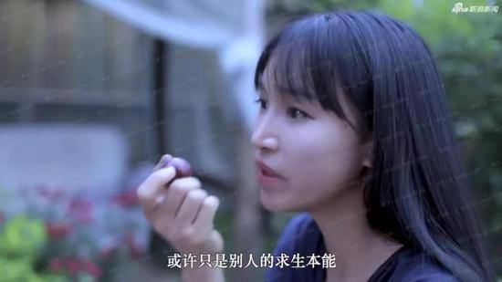 李子柒接受新浪采访时坦露心路历程。图片来自视频截图。
