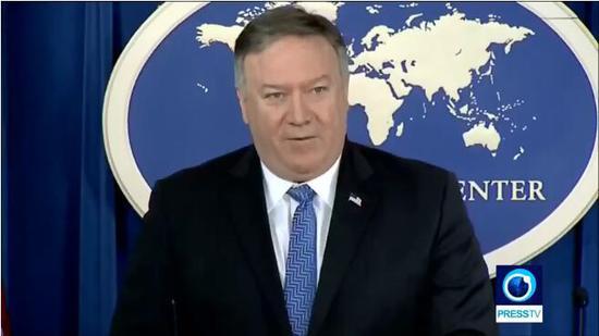 伊朗方面指名道姓指摘蓬佩奥。(图截自Press TV)