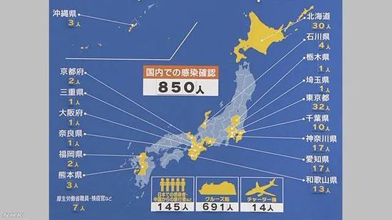 截至2月24日,日本国内各地感染情况(图源:NHK)