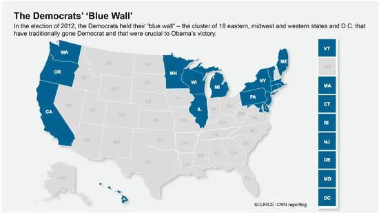 """民主党""""蓝墙""""地带。/CNN截图"""
