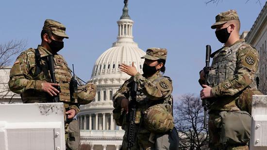 在華盛頓執行安保任務的美國國民警衛隊隊員