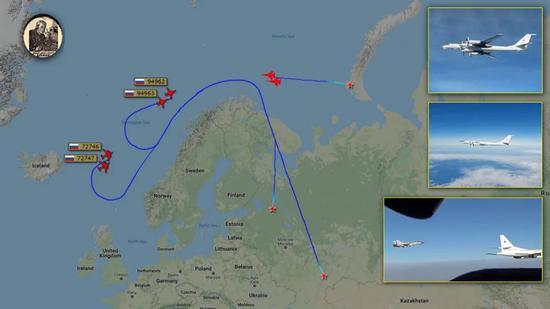 俄军战机近来频频向北大西洋公海出击,拒绝向西方屈服。来源:twitter