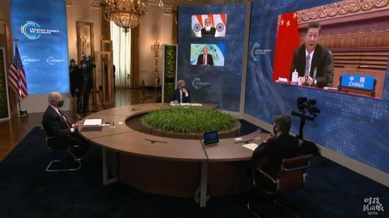 △美国总统拜登以视频方式出席领导人气候峰会。