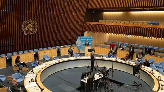 第73届世界卫生大会于5月18日18时以视频方式召开(图源:新华社)