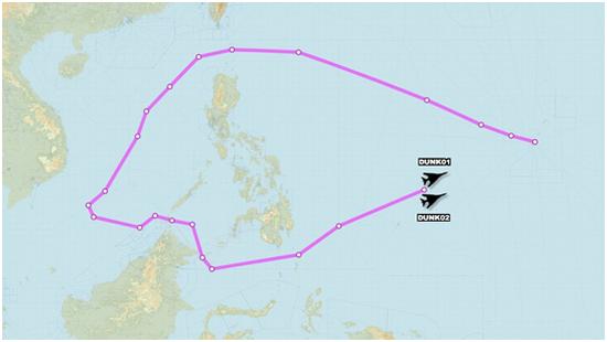 """""""飞机守看""""发布的美军B-1B轰炸机11月8日飞走路线"""