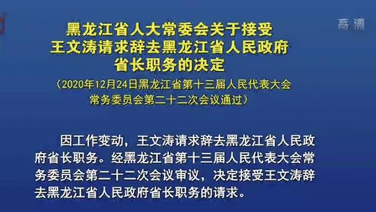 王文涛辞去黑龙江省长职务
