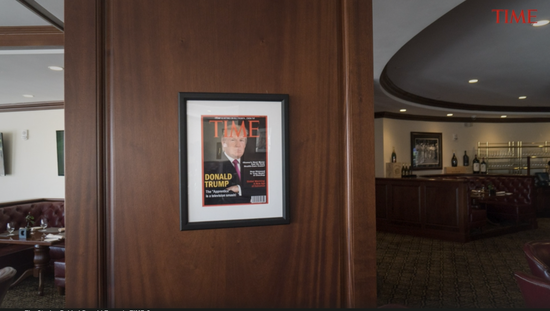 The cover of fake Time hanging in Trump's clubhouse. Later, Time asked Trump's team to take it down. Image source: Time.com