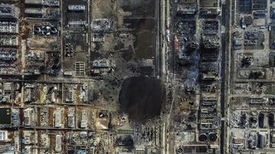 响水化工厂爆炸后,鸟瞰爆炸现场。新京报记者 彭子洋 摄
