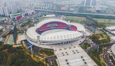 第七届世界军人运动会主场馆武汉体育中心航拍图。资料图片