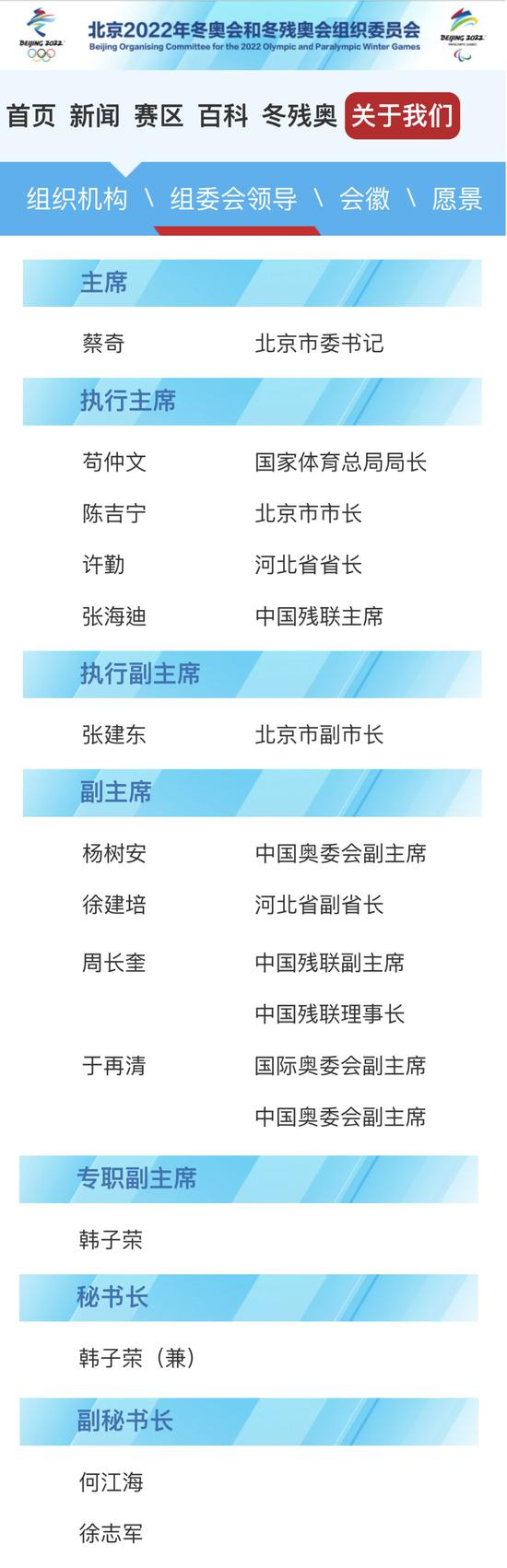 北京冬奥组委网站截图