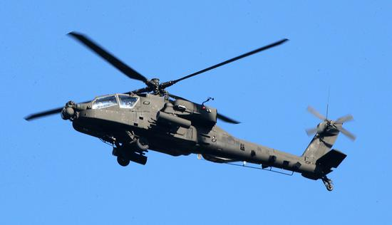 资料图:驻韩美军阿帕奇直升机