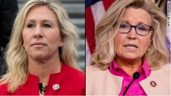 (图说:佐治亚州共和党众议员格林(左)与怀俄明州共和党众议员切尼。图/AFP/Getty Images)