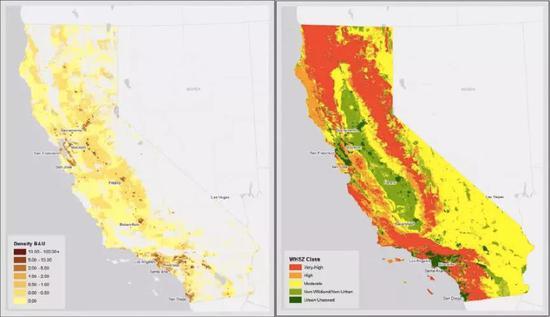 左图为人口密度,右图为山火易发区,来源:Land Use Policy