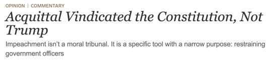 """麦康奈尔在《华尔街日报》发表评论:""""无罪证明的是宪法,不是特朗普""""。"""