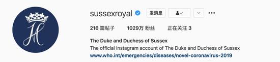 """""""苏赛克斯皇家""""照片墙账号即便停更,至今仍有1029万粉丝。来源:Instagram"""