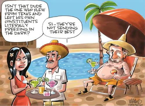 """△《华盛顿邮报》讽刺漫画。画面中,克鲁兹正在墨西哥坎昆度假。旁观的女士问男伴:""""这家伙不是那个把自己选民扔在黑暗和严寒中不管的得州议员吗?""""男伴回答:""""是啊,他们(得州选民)没选对人呗。"""""""