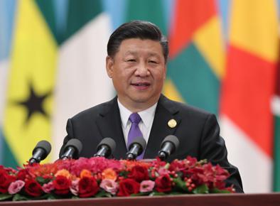 9月3日,中非合作论坛北京峰会在人民大会堂隆重开幕。中国国家主席习近平出席开幕式并发表题为《携手共命运 同心促发展》的主旨讲话。新华社记者 刘卫兵摄