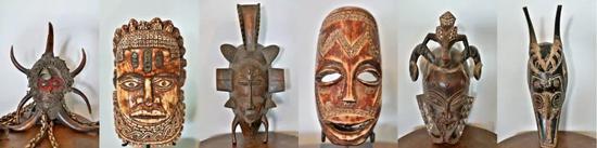 这是10月29日在多哥首都洛美的几内亚湾非洲国际艺术博物馆拍摄的面具艺术品(拼版照片)。新华社记者 王腾 摄