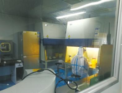侯英在实验室里做检测。