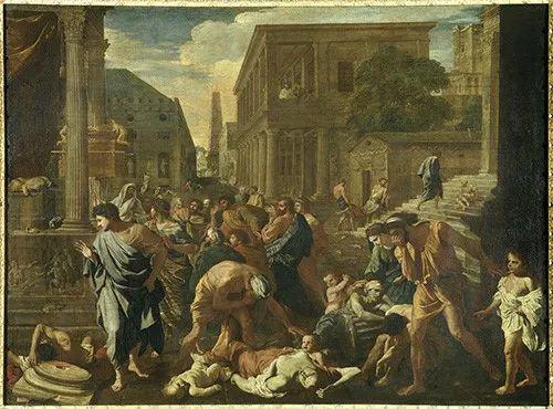 发生在164年至180年的古罗马的瘟疫,法国画家尼古拉斯·普桑的作品《阿什杜德的瘟疫》描绘了古罗马安东尼大帝执政时期这场恐怖瘟疫。