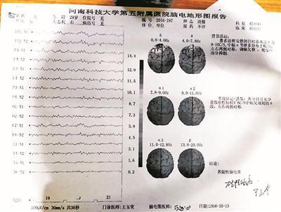 事后刘刚前往河南科技大学第五附属医院接受检查的诊断结果