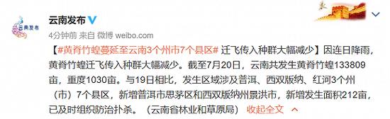 黄脊竹蝗蔓延至云南3个州市7个县区