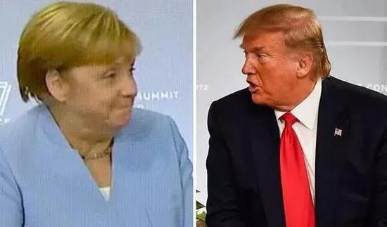 ▲特朗普称自己有德国血统,默克尔没忍住笑了出来。(盖帝图像)