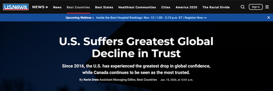 美国全球信任度主要消极。