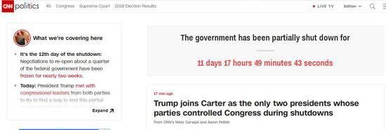 美国CNN官网对美国当局片面关门时间进走计时。(图源:CNN)