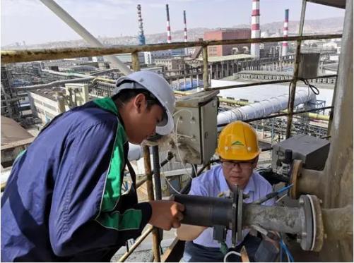 中央第五生态环境珍惜督察组在金昌市现场核查企业排污情况。图片来自生态环境部