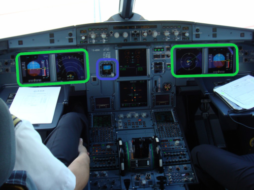 川航8633事件中除了蓝框内的备用仪外,其他飞走仪外及FCU组件全毁
