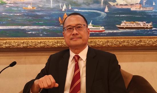 香港中华总商会会长蔡冠深。王聪摄