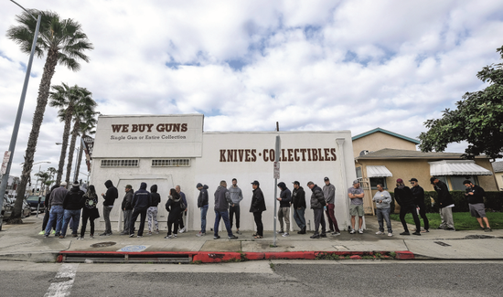 On March 15, in Culver, California, people lined up outside a gun shop.