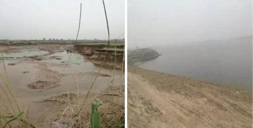 2016年5月仍为湿地,2017年1月湖面已初具规模