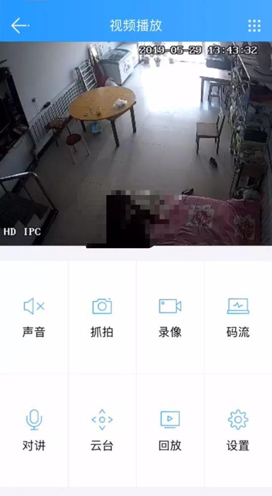 ▲5月29日下午,新京报记者登录云视通账号看到监控视频直播画面。画面截图