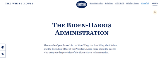 """白宫网站上的""""拜登-哈里斯政府"""""""