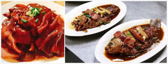 腐乳肉(左)和葱烧鲫鱼