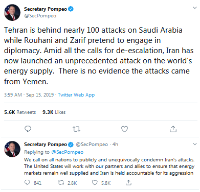 【蜗牛棋牌】美民主党议员批蓬佩奥称伊朗袭击沙特:不负责任