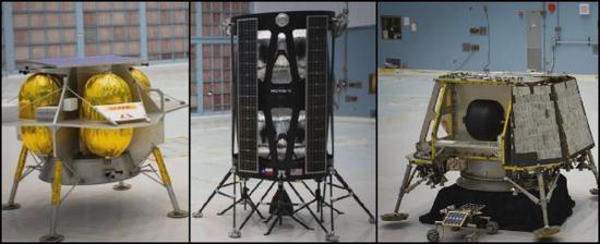 """从左到右别离为航天机器人。技术公司、""""直觉机器""""公司和""""超越轨道""""公司开发的月球登陆器(美国国家航空航天局网站)"""