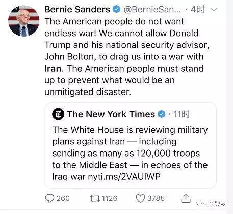 美国一位总统候选人桑德斯,在转发纽约时报相关报道时就评论:
