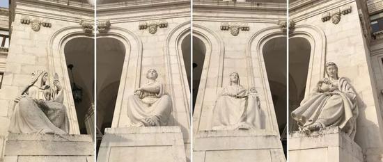 △议会大厦前有四座雕像,分别象征着谨慎、力量、正义和节制。(央视记者张淳拍摄)