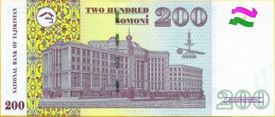 ▲塔吉克斯坦200索莫尼:塔吉克斯坦国家图书馆