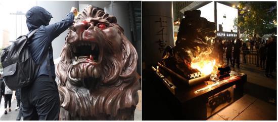汇丰铜狮像两度遭破坏