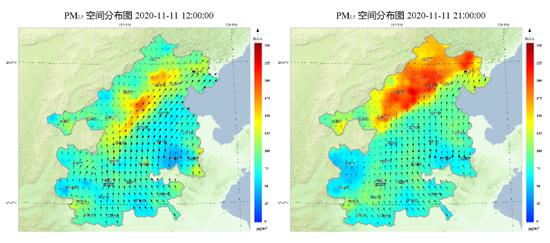 """图1 11月9-12日""""2+26""""城市PM2.5浓度分布及风场传输暗示图(数据来源:中国环境监测总站)"""
