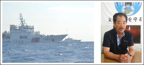 仲间均(右),与日本海保船并排航走的中国海警船(八重山日报。 图)