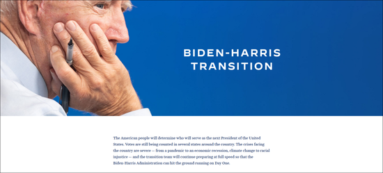"""·""""拜登-哈里斯政府过渡网站""""首页。"""