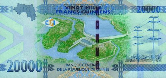 ▲几内亚20000法郎:凯乐塔水利枢纽
