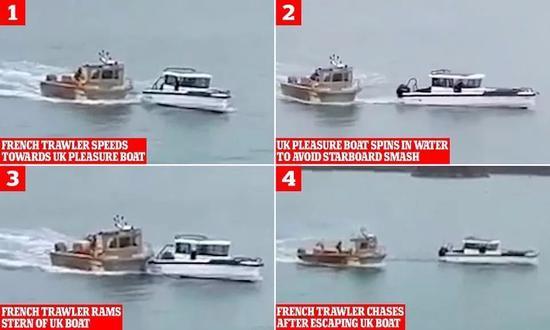 一艘法国拖网渔船撞击一艘英国游船。来源:卫报